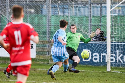 Action from Warrenpoint Town's Tennent's Irish Cup clash with Crewe United.