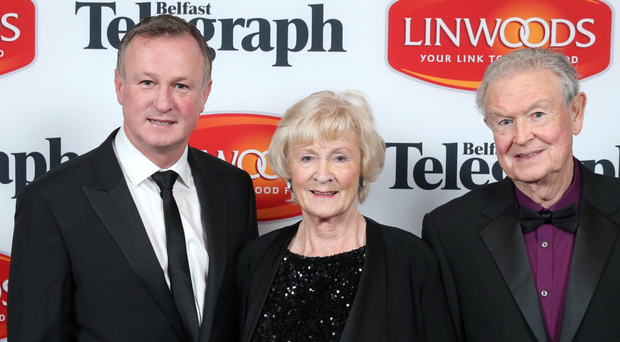 Northern Ireland manager Michael O'Neill with his parents Des and Patricia