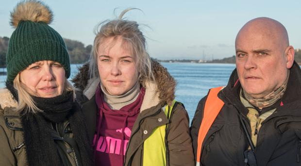 Jack Glenn's mother Hester, sister Katie and father Colin, who have been searching for their son and brother, who entered the River Foyle last Thursday