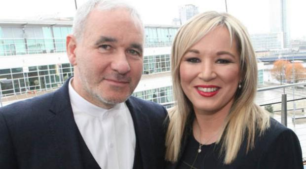 Peter Doran with Sinn Fein's Northern leader Michelle O'Neill