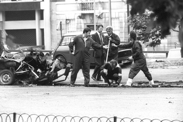 The aftermath of the 1982 Hyde Park IRA bombing which killed four soldiers and injured 31