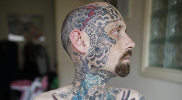 Chris Dalzell from Bangor and his head-to-toe tattoos