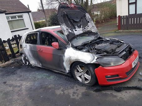 The two vehicles torched in the Millview Park area of Ballybogey