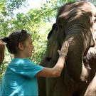Kerri McCrea with elephants in Thailand