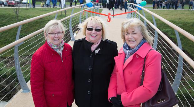 Relatives of the three people honoured (from left) Margaret Shannon, widow of Billy Shannon; Gail Sloan, daughter of Grace Bannister; and Alison Hutchinson, widow of David Hutchinson