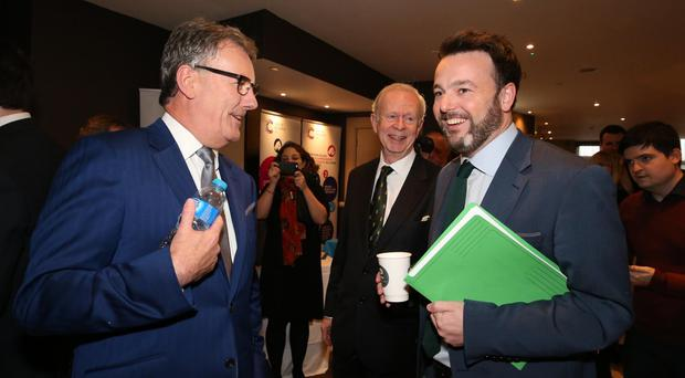 Mike Nesbitt with Lord Empey and SDLP leader Colum Eastwood at the UUP party conference last October