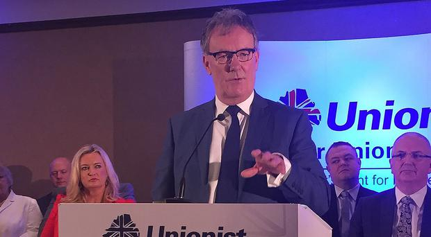 Leader of the Ulster Unionist Party Mike Nesbitt speaks at his party's manifesto launch