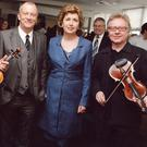 Keith Donald with Mary McAleese and Paul Brady