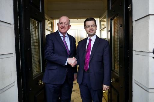 Charlie Flanagan and James Brokenshire in Dublin yesterday