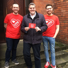 DUP's Gavin Robinson with the Love Equality NI campaigners yesterday