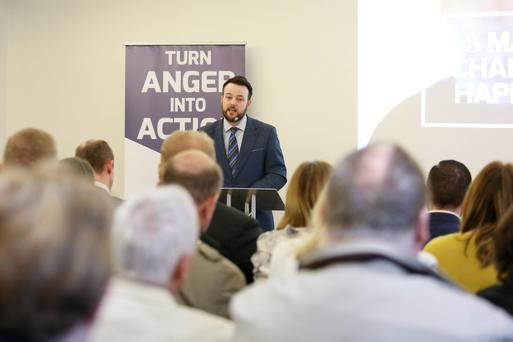 Colum Eastwood speaks at the launch of the SDLP's policy document yesterday
