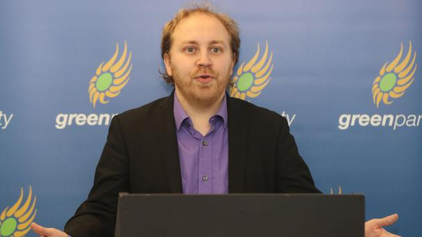 Steven Agnew, leader of the Green Party in Northen Ireland, at the launch in Belfast of his party's manifesto