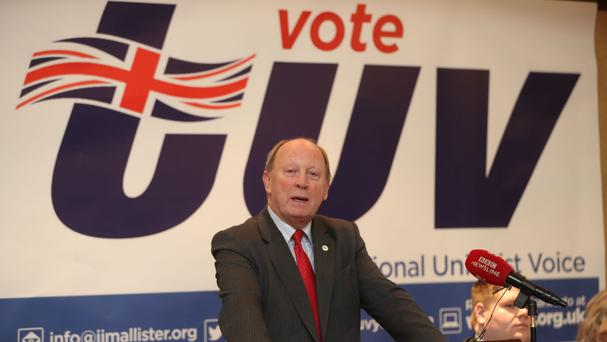 Jim Allister, leader of the TUV, at the launch in Belfast of his party's manifesto for the Northern Ireland Assembly elections at the start of March