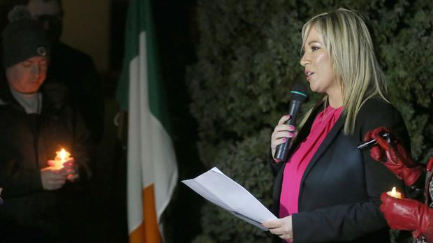 Sinn Fein's new leader at Stormont Michelle O'Neill addresses the commemoration in Clonoe, Co Tyrone