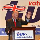 TUV leader Jim Allister at the launch of the party's manifesto in Belfast