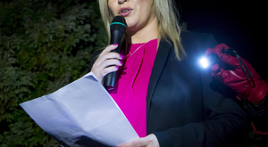 Michelle O'Neill speaks at the vigil at St Patrick's Church in Clonoe last night
