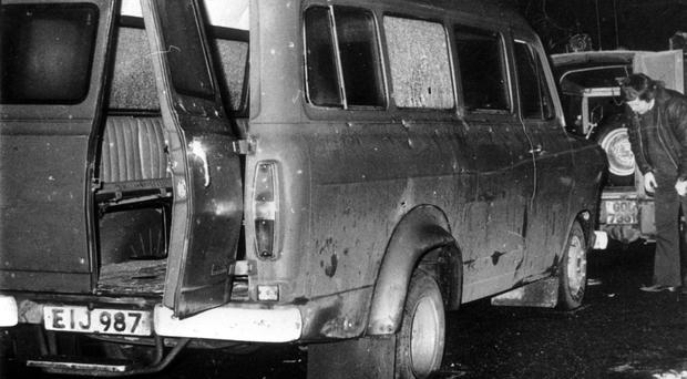 The bullet-riddled minibus in South Armagh where 10 Protestant workmen were shot dead by terrorists in 1976