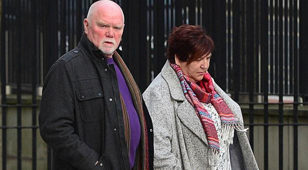 Relatives of Conan Anderson outside court in Belfast yesterday