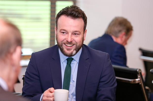 Colum Eastwood at the SDLP manifesto launch in Mossley Mill yesterday