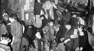 The scene after the bomb at McGurk's Bar in North Queen Street, Belfast in 1971