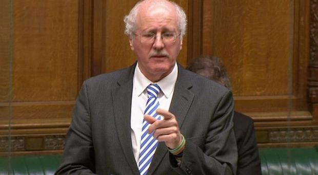 An emotional Jim Shannon speaking in the House of Commons yesterday