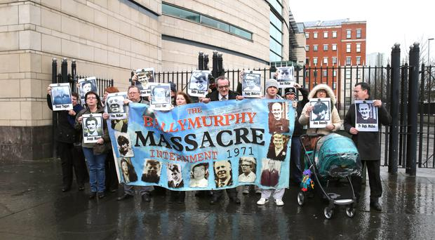 Relatives of those killed in Ballymurphy protest outside court