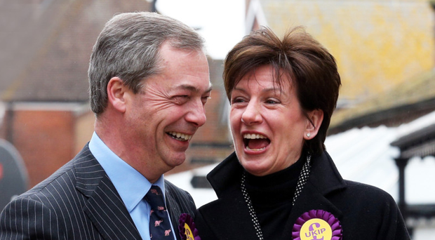 Former Ukip leaders Nigel Farage and Diane James