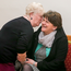 DUP leader Arlene Foster shares a joke with a guest at a tea dance in Newtownhamilton, Co Armagh, last night