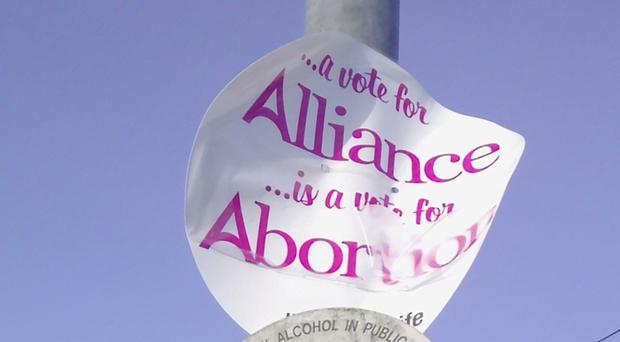 One of the controversial pro-life signs in the East Antrim constituency