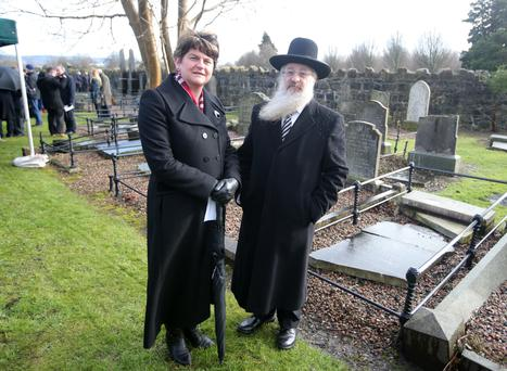Rabbi David Singer with DUP leader Arlene Foster at the Jewish plot in Belfast City Cemetery