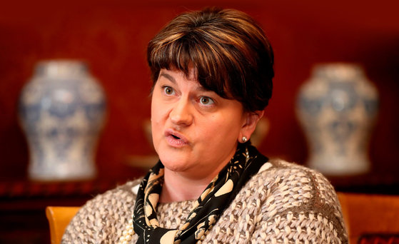 DUP leader Arlene Foster at the Corick House Hotel in Clogher, Co Tyrone yesterday
