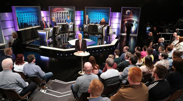 The audience watches as Noel Thompson presents The Leaders' Debate from the BBC's Blackstaff studios in Belfast