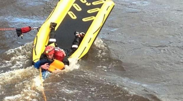 The scene at Bridge Street, Antrim, where canoeist Hannah Birt was rescued after getting trapped