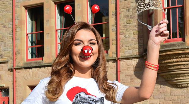 Miss Northern Ireland Emma Carswell helps launch Red Nose Day which is on March 24