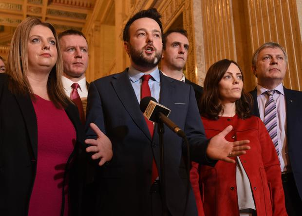 SDLP leader Colum Eastwood (left) with the party's MLAs at Stormont yesterday