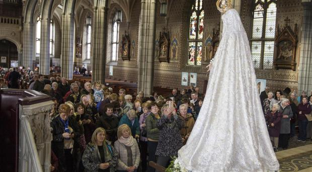 Our Lady of Fatima Centennial Pilgrim Statue in the Cathedral of SS Patrick and Colman, Newry
