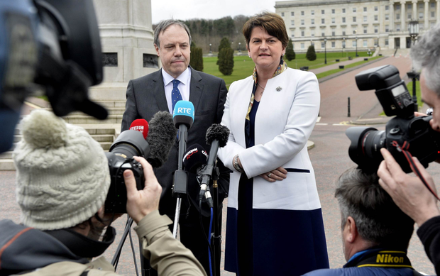 DUP leader Arlene Foster with deputy leader Nigel Dodds