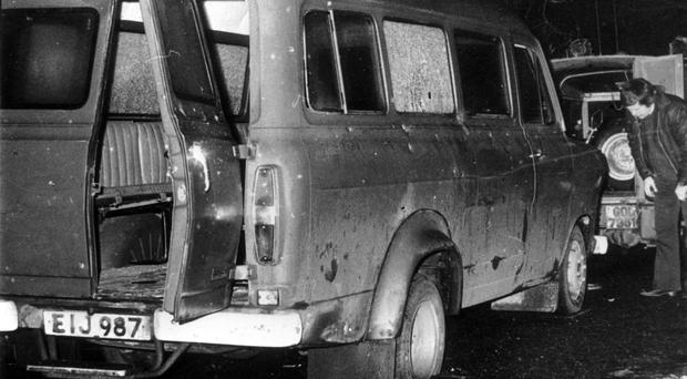 The bullet riddled minibus in South Armagh where 10 Protestant workmen were shot dead in the Kingsmill massacre