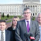 The Ulster Unionist delegation led by Tom Elliott MP at the Stormont talks.