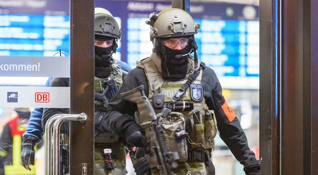 Special forces at the scene of the train station attack in Dusseldorf