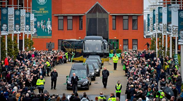 The funeral cortege of former Celtic footballer Tommy Gemmell