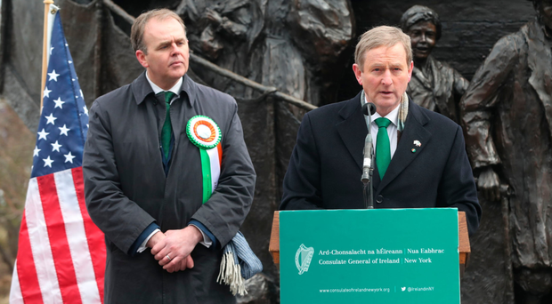 Taoiseach Enda Kenny (right) with Minister of State for the Diaspora Joe McHugh at the Irish Famine Memorial in Philadelphia yesterday