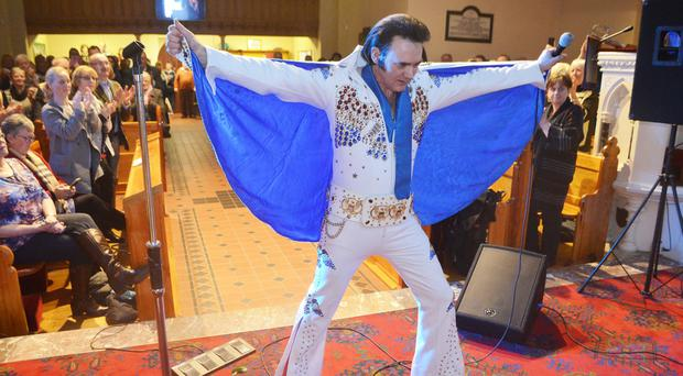 Elvis impersonator Andy Rodgers at St Canice's