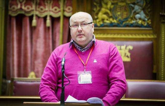 Noel Downey speaks at the European Day of Remembrance of the Victims of Terrorism event at Stormont