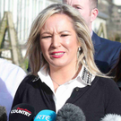Sinn Fein's Michelle O'Neill speaking to the media at Stormont yesterday