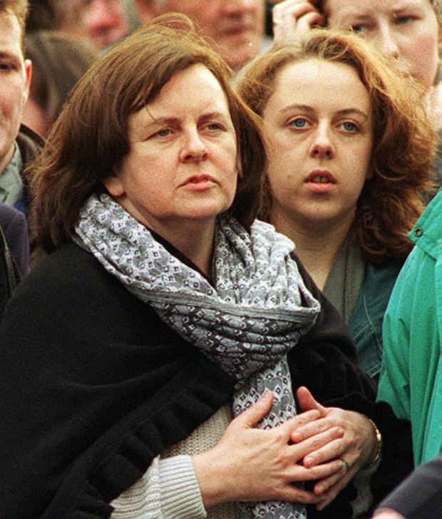 Bernadette McAliskey with daughter Roisin at the funeral of INLA leader Dominic McGlinchey in 1994