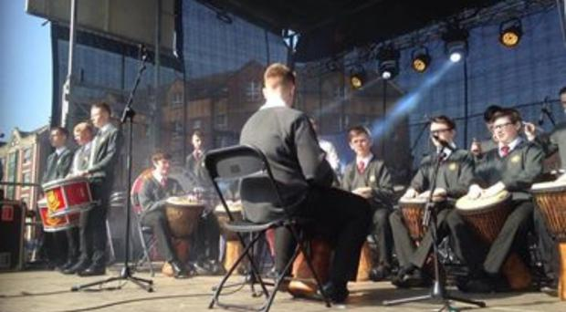 Drummers from Belfast Boys' Model School performing at last year's St Patrick's Day concert