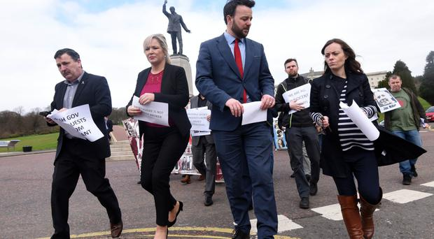 Sinn Fein's Michelle O'Neill and SDLP Leader Colum Eastwood join with families of the victims of the Ballymurphy and McGurk's Bar massacres calling for Secretary of State James Brokenshire to release funds for inquests