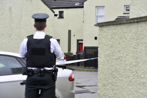 Police at the scene of the explosion in Woodland Court, Bushmills