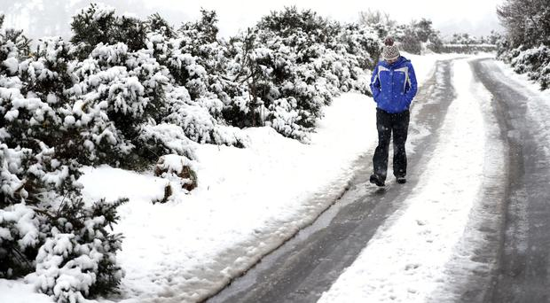 The Met Office has issued a weather warning for the north of the UK for snow and ice overnight on Monday and into Tuesday